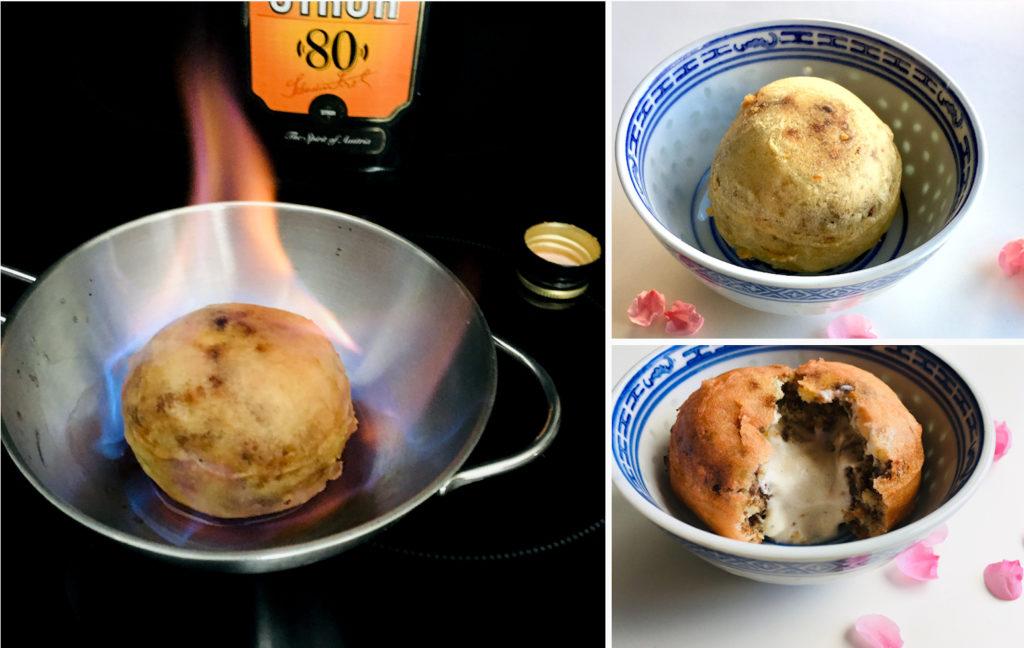 gebackenes Eis wird flambiert