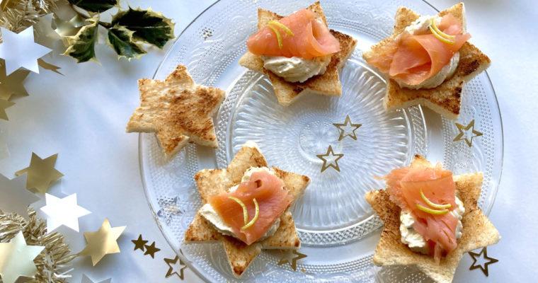 Vorspeise für Weihnachten – köstliche Lachscrostini in Sternform