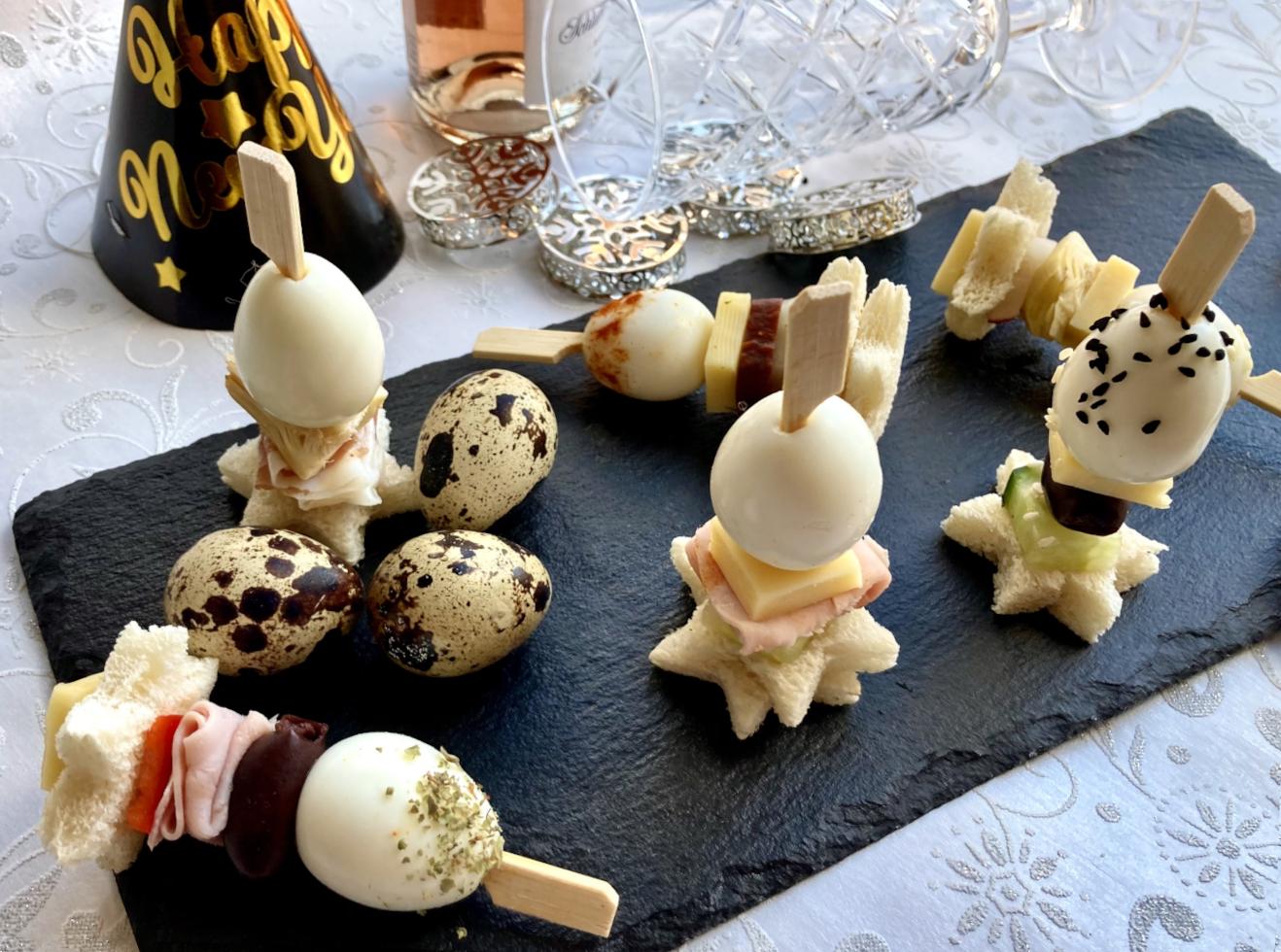 Silvester Spieße mit Ei