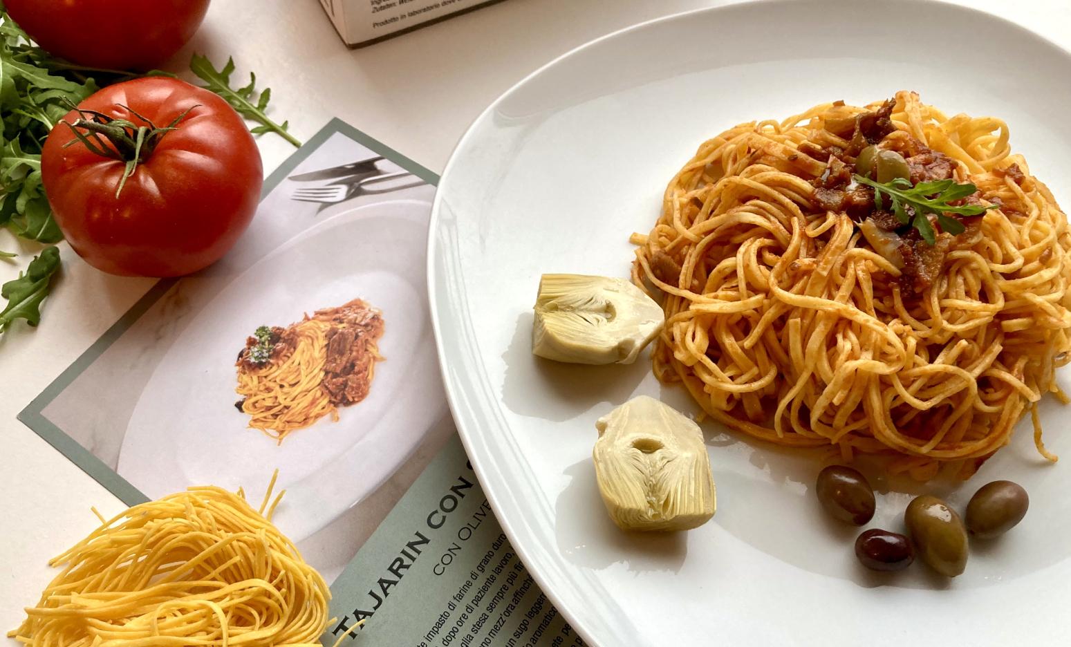 Tajiarin Nudeln mit Artischocken-Sauce