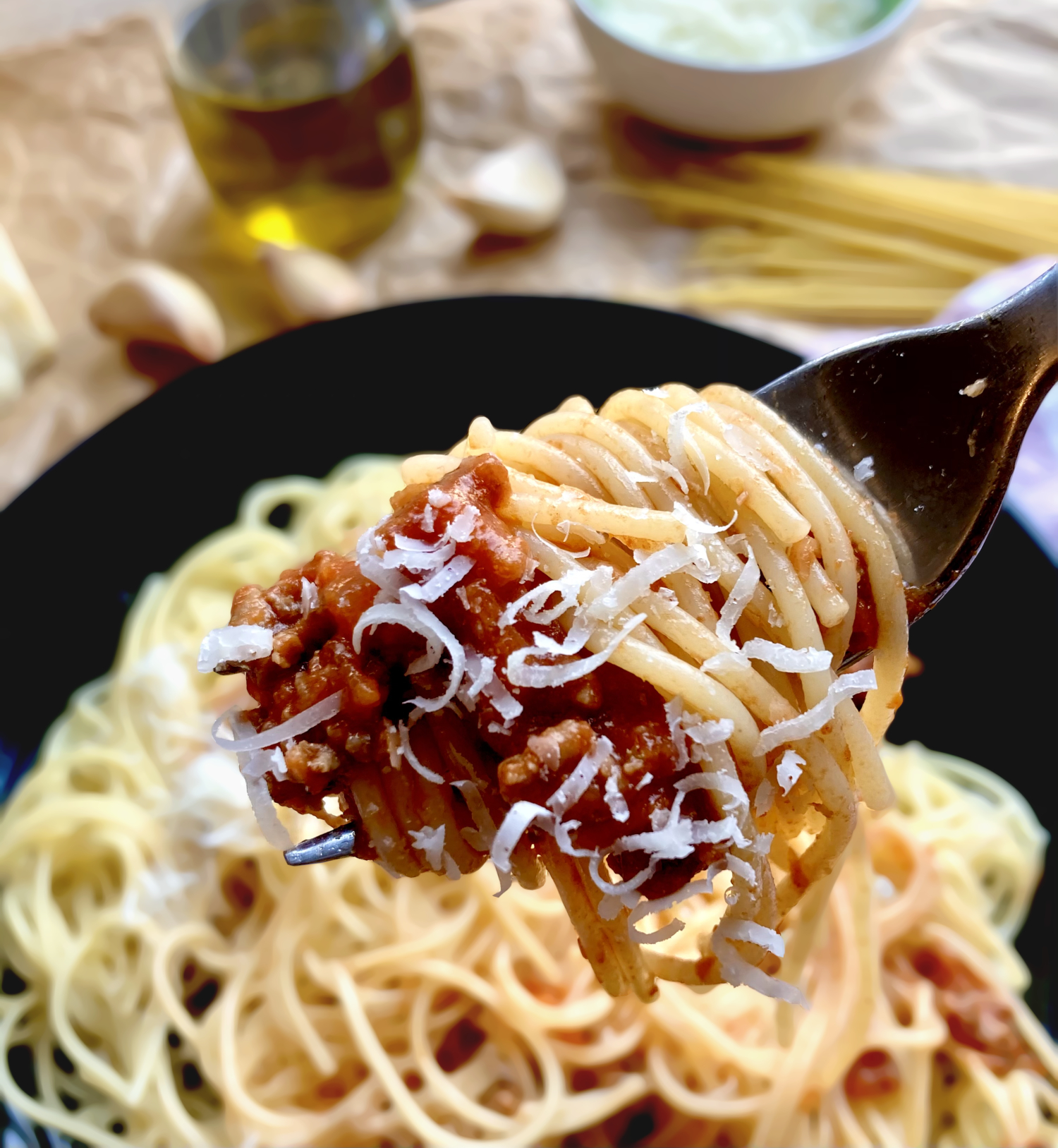 eine Gabel voll Spaghetti Bolognese